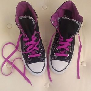 Converse Purple and Black Side Zip Hi Tops